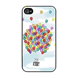 Funda carcasa TPU Gel para Apple iPhone 4 4S diseño cesta globo globos de colores borde negro