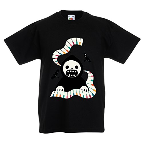 T Shirts for Kids Halloween Horror Nights - The Death is Playing on Piano - Cool Scarry Design (12-13 Years Black Multi Color) ()