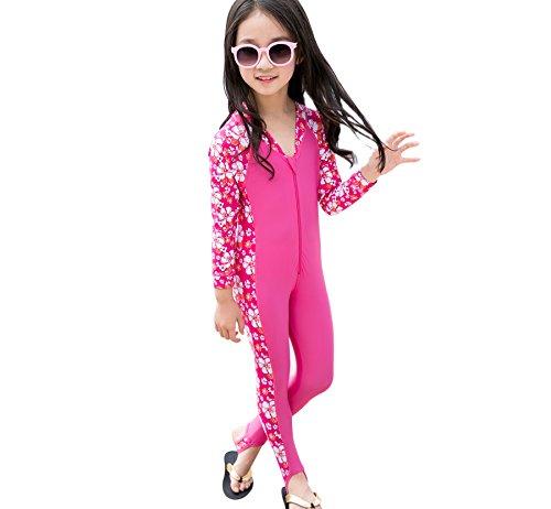 Kids Boy Swimsuit, One Piece Baby Long Sleeves Swimwear, UV Sun Protective Thermal Wetsuit 1.5mm Neoprene Suit Boys 2-7 years, Beach Wear Diving Swimming Suit +Waterproof (L, BLUE) (XL, PINK)