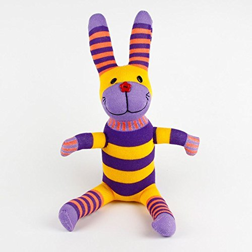 Phantomx Handmade Purple Striped Sock Monkey Rabbit Stuffed Animals Doll Baby Toy - Diy Rocker Girl Costume