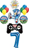 Sonic the Hedgehog Party Supplies 7th Birthday Balloon Bouquet Decorations 14pc