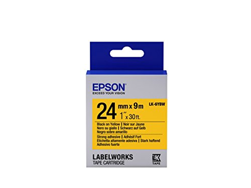 "Epson LabelWorks Strong Adhesive LK (Replaces LC) Tape Cartridge 1"" Black on Yellow (LK-6YBW) - For use with LabelWork LW-600P and LW-700 label printers"