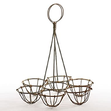 Heavy Gauge Rusty Zinc Wire Egg Holder for Displaying Decorated Eggs, Embellishing Primitive Decor and More