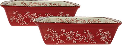 Temp-tations Set of 2 Loaf Pans for Meat Loafs or Breads 1.75 Quart Each (Floral Lace Red)