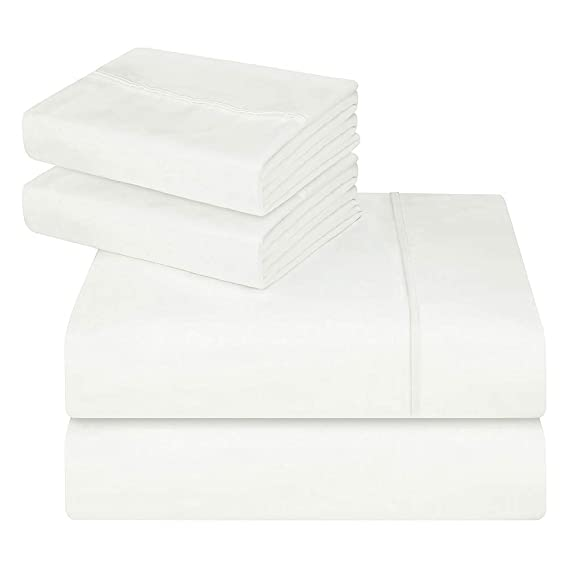 Oakome Parure de Lit 4 Pièces Drap Housse-Draps Plat-2 Taies d'oreiller 1800 Thread Count Souple avec 100% Polyester Kit de Literie Hypoallergénique (White, 200 * 245-140 * 190-50 * 75cm)