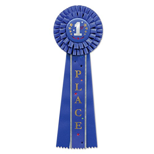 Beistle RD10 1st Place Deluxe Rosette, (1 Count), 4.5 Inches by 13.5 Inches