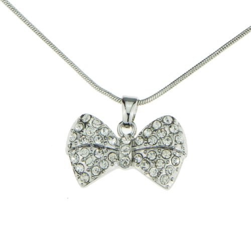 Crystal Iced Out Bow Ribbon Pendant Mood Necklace Silver Snake Chain for Women Teen Little Girls Jewelry - Bow Pendant Necklace