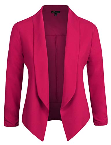 Michel Womens Casual Blazer Work Office Lightweight Stretchy Open Front Lapel Jacket MARGENTA Small