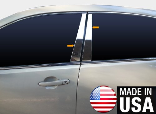 Made in USA! Works with 2006-2013 Chevrolet Impala 4PC Stainless Steel Chrome Pillar Post Trim