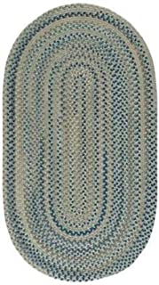 "product image for Capel Melange Blue Beige 0' 24"" x 0' 36"" Oval Braided Rug"