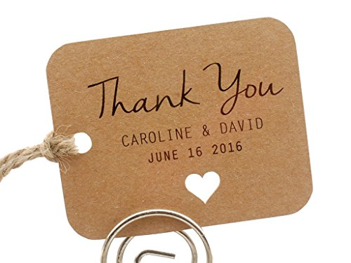 Summer-Ray 50 Personalized Mini Kraft Wedding Favor Gift Tags Rounded (Summer Wedding Favors)