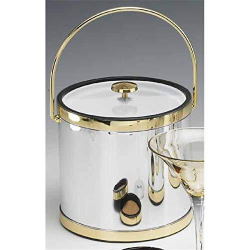 OKSLO Mylar brushed chrome and brass 3 quart ice bucket with bale handle lucite cover