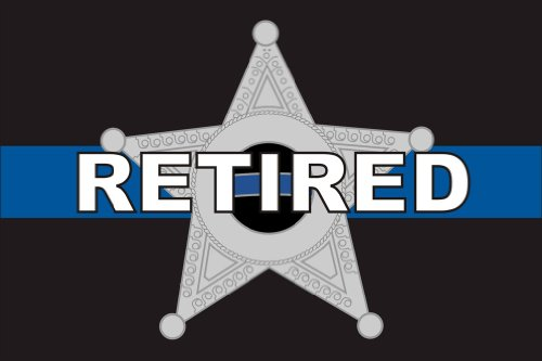 Thin Blue Line 5 Point Star Retired - 2x3