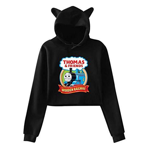 Lerzincser Womens Hooded Sweatshirt Logo of Thomas The Tank Engine & Friends Cat Ear Hoodie Sweater Tops L Black (Thomas The Tank Engine And Friends Logo)