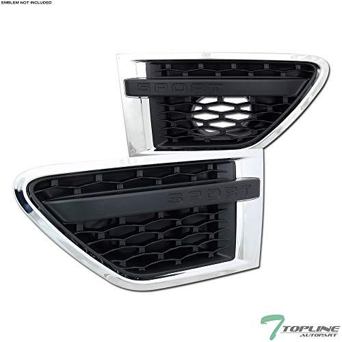 Topline Autopart Chrome Black Luxury Mesh Side Fender Air Vent Grill Grille 10-12 Land Rover Range Rover Sport