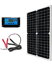 10W 20W 30W 12V Solar Panel Battery Charger Kit 12 Volt Monocrystalline for Car RV Marine Boat Caravan Off Grid System