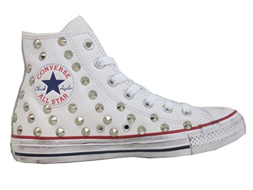 Prodotto All Pelle Artigianale Borchiate Star Converse Bianche 7TxCwf
