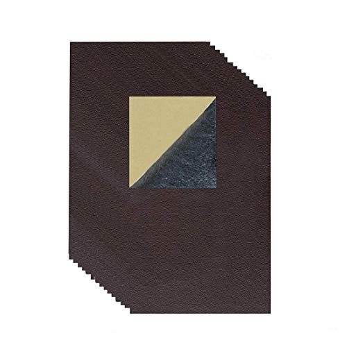 (15 Pieces Leather Patch, Adhesive Backing Leather seat Patch for Repair Sofa, Car Seat, Jackets, Handbag, 8 by 4 Inch, Dark Brown)