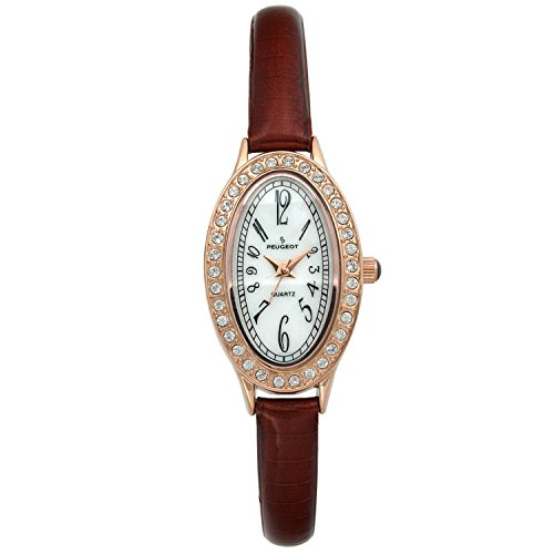 Peugeot Ladies Oval Rose-gold Brown Leather Strap Watch