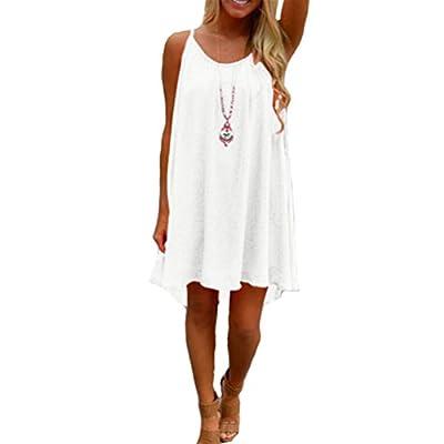iToolai Women's Summer Casual Chiffon Sheer Tank Beach Dress Nightgown