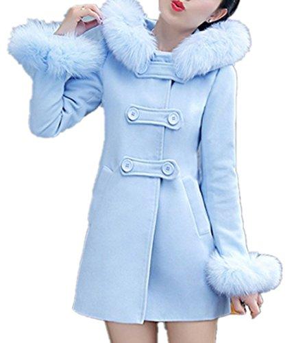 Fleece Women's Blu Jacket Inverno Hoodie Pea Toggle Coat Ramonala Casual Duffle Style Zgqq5
