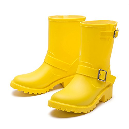 DKSUKO Womens Rain Boots with Elastic Adjust Waterproof -6 Colors-Motorcycle Boots for Girls JXC01 (7 B(M) US, Yellow) by DKSUKO (Image #3)