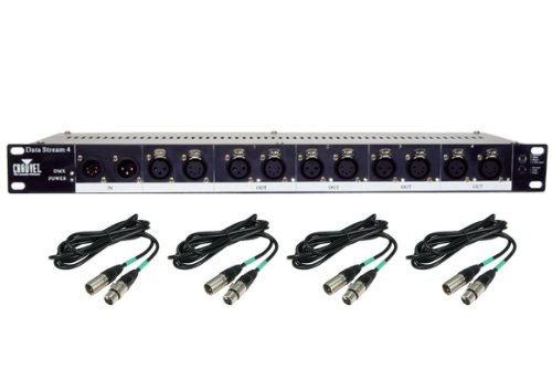 Chauvet DJ Data Stream 4 Universal 3 & 5 Pin DMX Optical Splitter w/ 25' Cables ()