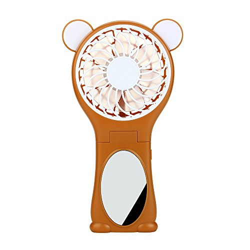 Price comparison product image Mini Portable Folding Fan Outdoor Handhel, Desk Fan with USB Charging Rechargeable Lithium Battery, MeiLiio Ultra Quiet Summer Cooling Fan Cute Bear Cartoon Fans with Mirror Beauty for Women (Brown)
