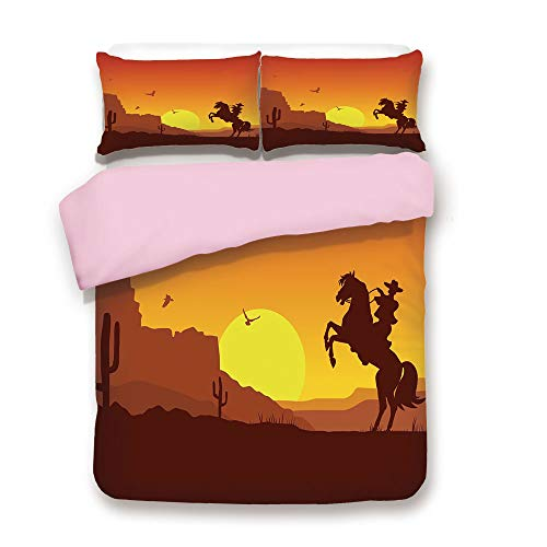 Pink Duvet Cover Set,Queen Size,American Wild West Desert with Cowboy on Horse Sunset Cactus Arid Lands Decorative,Decorative 3 Piece Bedding Set with 2 Pillow Sham,Best Gift For Girls Women,Orange Ye