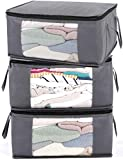 ABO Gear Storage Bins Storage Bags Sweater Storage Clothes Storage Containers, 3pc Pack, Gray