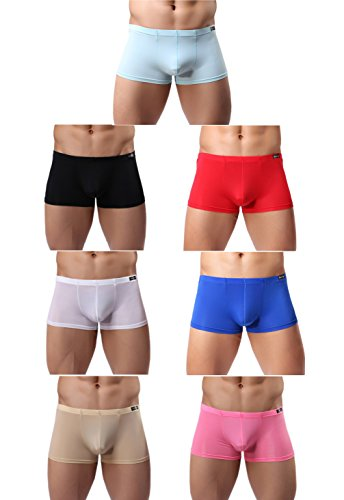 (Gudan Mens Silk Underwear Sexy Seamless Boxer Briefs Short Leg Pack (7Pack, S (US)=Waist:28