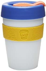KeepCup - Vaso térmico con tapa (reutilizable, 340 ml), diseño de vaso para llevar, color blanco, azul y amarillo