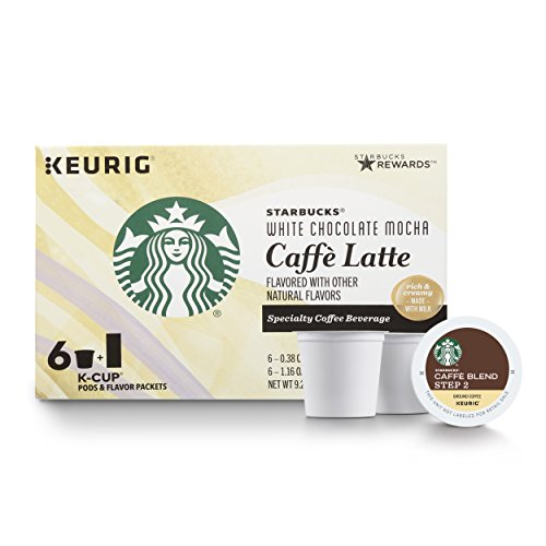 Starbucks White Chocolate Mocha Caffè Latte Average Roast Single Cup Coffee for Keurig Brewers, 4 boxes of 6 (24 total K-Cup pods)