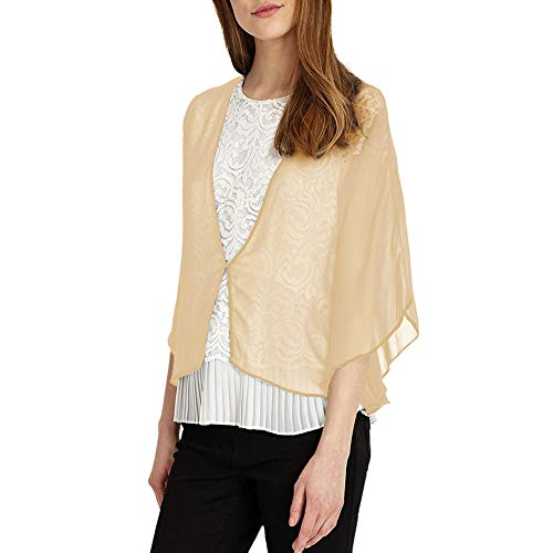Long Womens Sleeve Piano - Soft Sheer Chiffon Wraps Shrug for Evening Party Open Front Oversized Capes by Lansitina (W41 Champagne)