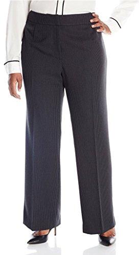 Tahari ASL Women's Plus-Size Reena Pant Suit, Black/White, 14W