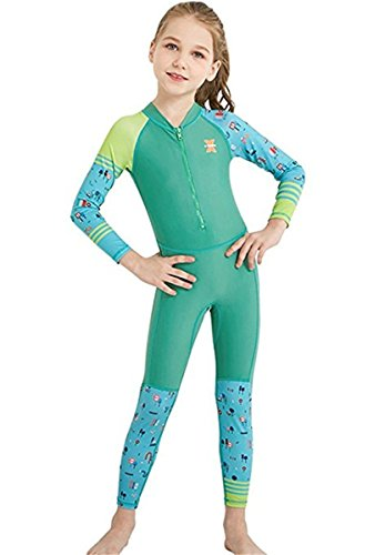 JELEUON Little Kids Girls One Piece Water Sports Sun Protection Rash Guard UPF 50+ Long Sleeves Full Suit Swimsuit Wetsuit Green