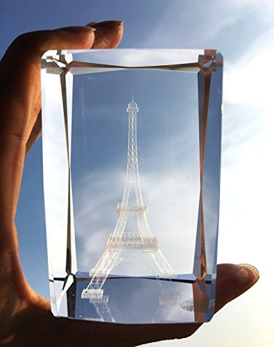 Birthday Glass Cube (3D Eiffel Tower paperweight(Laser Etched) in Crystal Glass Cube Birthday/Christmas Romantic Gifts(No included LED base)(3.2x2.1x2.1 inch))