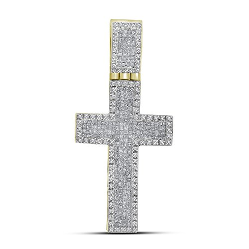 Roy Rose Jewelry 10K Yellow Gold Mens Princess Round Diamond Inset Christian Cross Charm Pendant 1-5/8 Carat tw (Rose Pendant Invisible Setting Diamond)