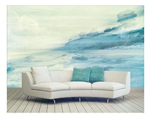 Large Wall Mural Watercolor Style Landscape of a Coast Vinyl Wallpaper Removable Wall Decor