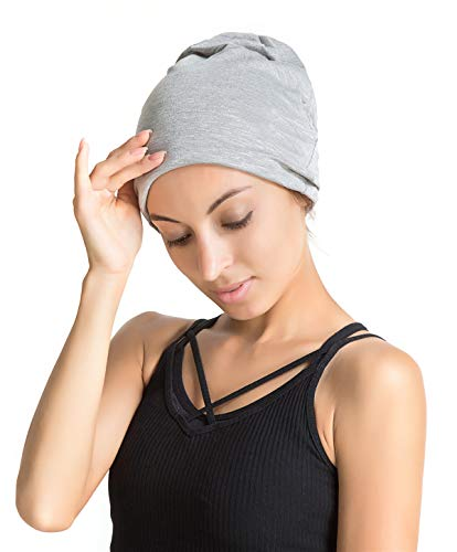 Womens Jersey Cover Cotton (Slap Night Cap Sleep Hat - Grey Balck Women Organic Bamboo Cotton Satin Silk Satun Satin lined Bonnet Slouchy Summer Scarf Hair Cover Beanie For Women Men Lady Lightweight Light Thin Jersey Chemo)