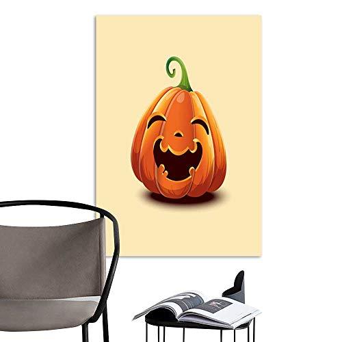 UHOO Art Print Paintings ModernRealistic Vector Halloween Pumpkin Happy face Halloween Pumpkin Isolated on Light Background 2.jpg Living Room Wall Decor and Home Décor -
