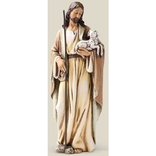 Roman Good Shepherd Jesus Christ with Lamb 6 Inch Resin Stone Tabletop Statue - Shepherd Statue Good