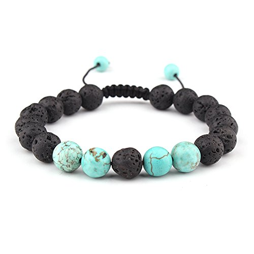 SULYSI Adjustable Lava Bead Stone Anxiety Diffuser oil diffuesr Bracelet women with Turquoise - meditation,relax,healing,aromatherapy ()