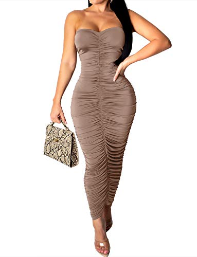 (VWIWV Women's Sleeveless Ruched Dresses Casual Tube Top Sexy Stretchy Maxi Bodycon Dress Brown)
