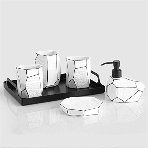 FXin バスルームアクセサリー、セラミック黒と白のシンプルな北欧スタイルのバスルームウォッシュカップセット6個セット5個セット、3スタイル シャワー室 (Size : C)