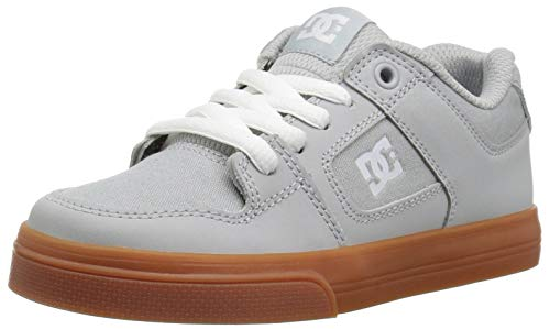 DC Pure Elastic Skate Shoe Grey 2 M US Little Kid ()