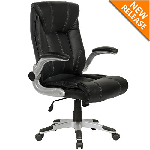 YAMASORO Ergonomic High-Back Executive Office Chair PU Leather Computer Desk Chair with Flip-up Arms and Back Support ...