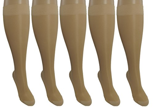 rge/X-Large Ladies Compression Socks, Moderate/Medium Graduated Compression 15-20 mmHg. Nurses, Work, Therapy, Travel & Flight Knee-High Hosiery. (Blend Sheer)