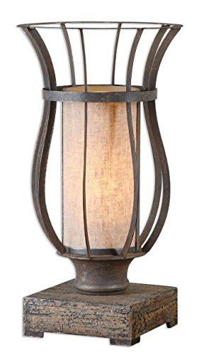 (Luxe Rustic Hurricane Iron Cage Table Lamp)