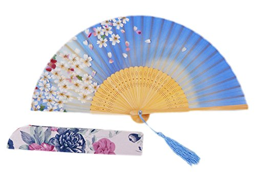 Amajiji Chinese / Japanese Vintage Retro Style Hand Held Folding Fans,100% Handmade Bamboo Wood Silk Pocket Purse Fan LXH (8.27) (3)